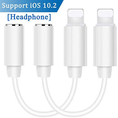 Lighting Adapter Headphone Jack Dongle for Phone 7/7Plus Phone 6/6Plus Pad/iPod.Earphone to 3.5mm Aux Adaptor Connector Audio Cable Accessories Female Converter Compatible with iOS 10.2-White