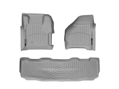 Liner Row Floor (1999-2007 Ford Super Duty (F-250/F-350/F-450/F-550) SuperCrew Grey Weathertech Floor Liner (Full Set: 1st & 2nd Row) [With 4X4 Shifter])