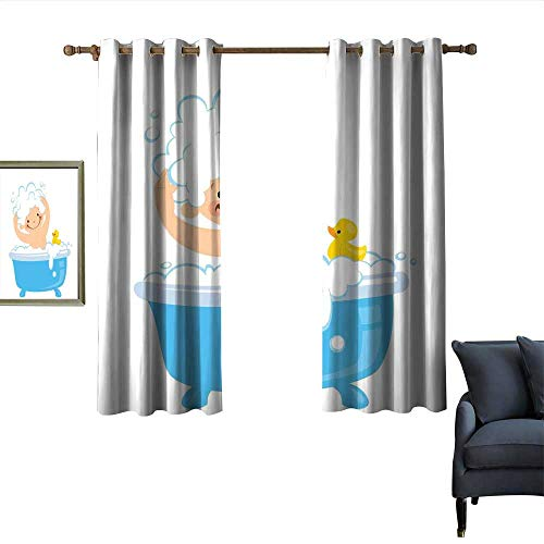 longbuyer Nursery Thermal Curtains Baby Boy with Smiley Face Having Bubble Bath with Rubber Duck Kids Theme Art Darkening and Thermal Insulating 55