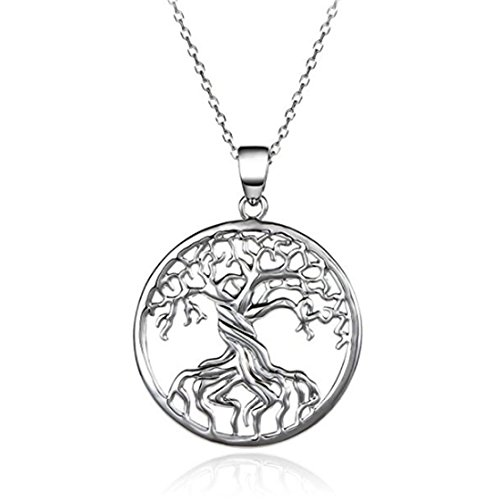 ULAKY Platinum-plated Silver Tree of Life Disk Chain Pendant Necklace Stainless Steel Necklace