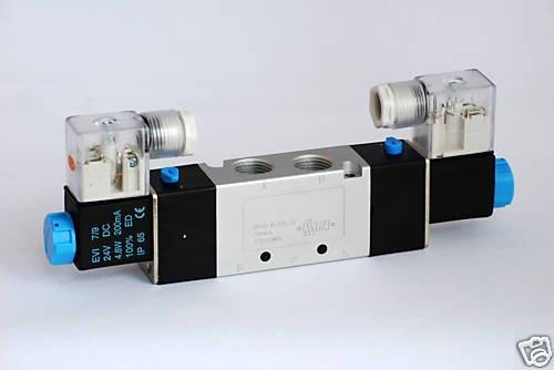 2 Solenoid Position 1 - MettleAir 4V220-08-DC24-1PK Double Solenoid Air Valve, 5 Port, 2 Position, 24V, DC, 1/4