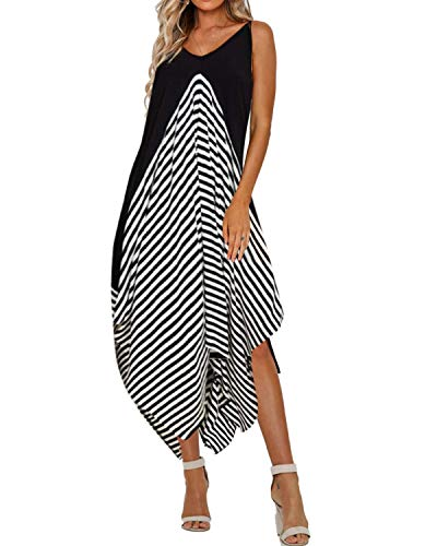 Striped Dome - STYLE DOME Womens Sexy Summer Maxi Dress Long Striped Sundress Spaghetti Strap Causal Party Dress L Black