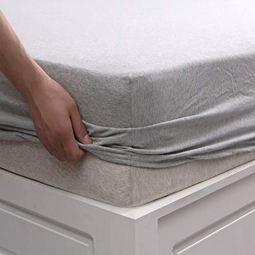 Deep Flat Sheet - PURE ERA Fitted Bottom Sheet ONLY (No Flat Sheet or Pillow Cases) Cotton Jersey Knit Ultra Soft Comfy Breathable Grey (King, Gray)