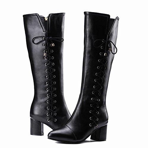 Charm Foot Womens Fashion Zipper Con Tacco Alto E Alto In Pizzo Con Lacci Neri