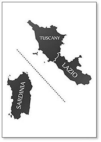 Amazon.com: Sardinia - Tuscany - Lazio Region Map Italy ...