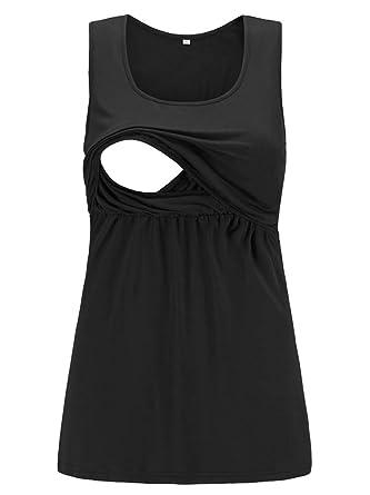 1116c4ce327bf CareGabi Women's Maternity Comfy Pull-up Nursing Tank Tops Round Neck Sleeveless  Breastfeeding Black