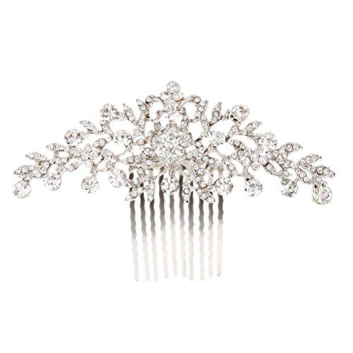 (Bridal Wedding Pageant Jewelry Tiara Crystal Rhinestone Flower Hair Comb Clip )