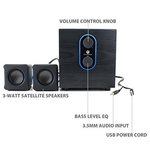 2.1 PC Speakers System with Subwoofer by GOgroove - SonaVERSE LBr - USB Powered with 3.5mm AUX Audio Input, Bass / Volume Control Knobs, 11W RMS - Compact Size Ideal for Laptop, Small Desk