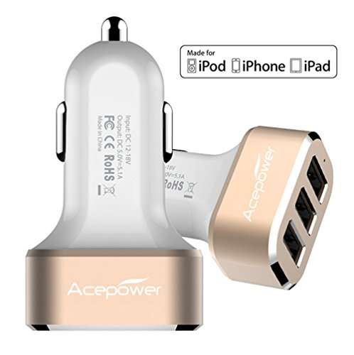 [Certified by Apple] ACEPower Premium 3 USB 26W 5.1A Aluminum Panel Compact Designed USB Car Charger for iPhone 6 6plus 5 5S 5C 4 4S,iPad 4 3 2,iPad mini,iPad air Battery Power Supply for All Apple Device, Galaxy, Cell Phones, Tablet, Android Devices (White+Gold)
