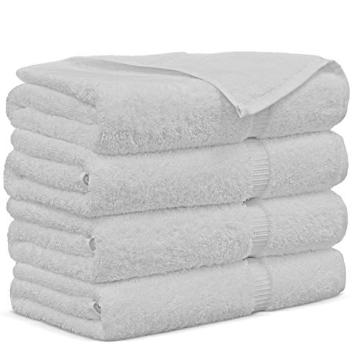 Premium Turkish Cotton 4-Piece Bath Towels, White