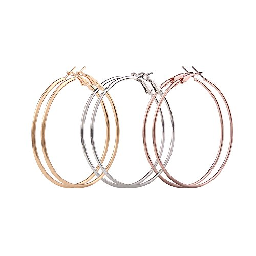 3 Pairs Hoop Earrings,18k Gold Plated Rose Gold Plated Silver Plated Stainless Steel Hoop Earrings For Women