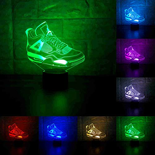(Sneakers 3D Lamp Table NightLight 7 Color Change Running Shoes LED Desk Light Touch Multicolored USB Power As Home Decoration Lights Tractor for Boys Kids (Touch) (Jordan 4))