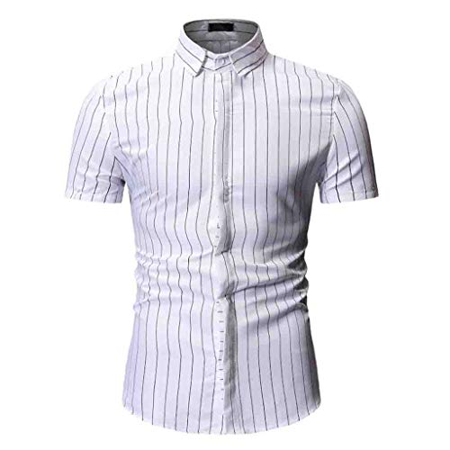 Luca Mens Button Down Shirts - Men Simple Stripe Blouse Casual Long Sleeve Slim Shirts Tops White ()