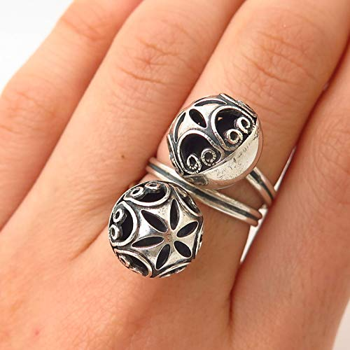 925 Sterling Vintage Beau Tribal Ball/Maracas Design Spiral Wrap Ring Size 6.5 Jewelry by Wholesale Charms