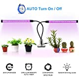 Grow Light with Auto On/Off Timing Function, 36 LED 18W 360° Adjustable Dual Head Red/Blue Spectrum Grow Lamp, 4 Dimmable Levels Plant Light for Indoor Plants Hydroponics Greenhouse Gardening by QITONG
