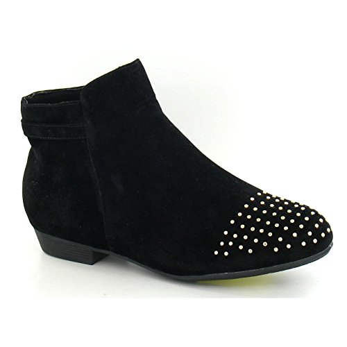Black Ankle On Low Heel Spot Womens Ladies Suede Studded Boots TOW8q
