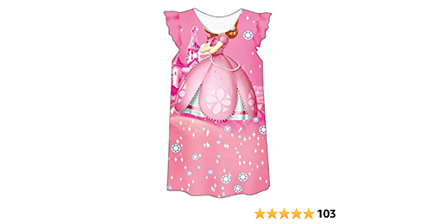 KIDHF Little Girls Comfy Loose Fit Princess Pajamas Toddler Nightgown Dress