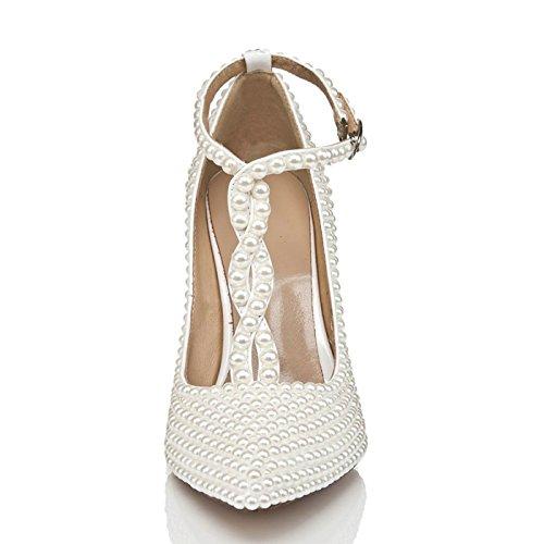 L@YC Damen High Heel Crossover Crossover Heel Stiletto Kleid Wies Frühling Herbst Kunstleder/10cm Heel/Strass Weiß aff424