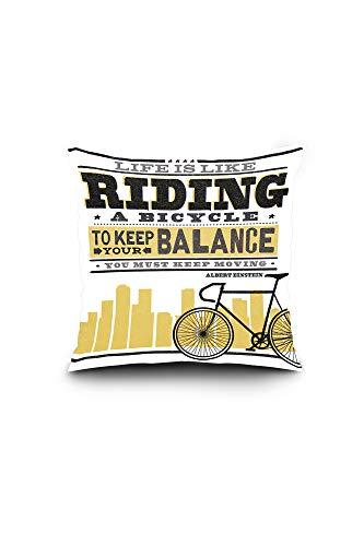 s Like Riding a Bicycle - Screenprint Style - Albert Einstein (16x16 Spun Polyester Pillow, Square) ()
