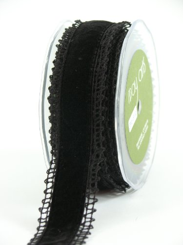 (May Arts 1-1/2-Inch Wide Ribbon, Black Crochet with Black Velvet)