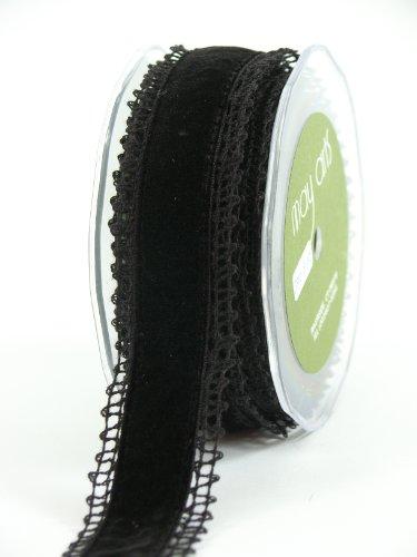 May Arts 1-1/2-Inch Wide Ribbon, Black Crochet with Black Velvet
