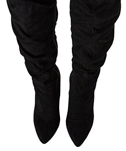 RF RAUM DER MODE Elza-1 Vegane Slouchy Pointy Overknee Stiletto Heel Stiefel Schwarz Su
