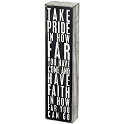 "Primitives by Kathy Pinstriped Trimmed Box Sign, 3"" x 12"", Take Pride in How Far You Have Come"