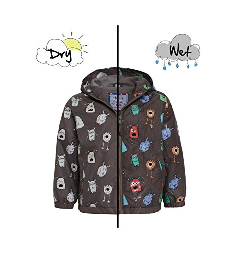 Boys Monster Patterned Colour Changing Raincoat by Holly & Beau – Grey Waterproof Coat that Changes Colour in the Rain - Age - Patterned Raincoat