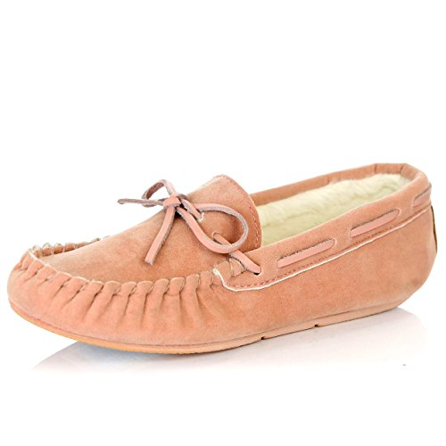DailyShoes Women's Casual Moccasins Vegan Fur Lined Interior Flat Comfortable Round Classic Loafer Sandal Indoor Outdoor Shoes, Mauve SV, 9 B(M) US