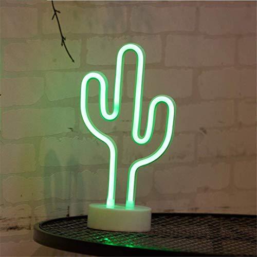 L06 Luz de Noche Neon con Base Cactus Luz de Noche Adornos de Modelado Creativo Linternas Pequeñas Sala de la Princesa...