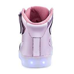 KEVENI Kids Boys Girls High Top USB Charging Led Shoes Light Up Flashing Shoes Fashion Sneakers LIGHT PINK 35