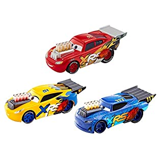 Disney Pixar's Cars XRS Drag Racing 3-Pack, 1:55 Scale, Diecast Vehicles, mag Wheels, Exposed Pipes and Engine Pistons That Move, Ages 3 and up