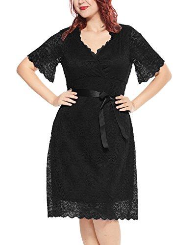 Women's Plus Size Lace V Neck Short Sleeve Empire Waist A-Line Bridal Wedding Dress Black 16W ()