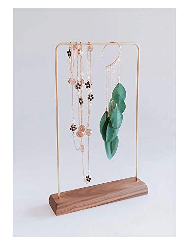 Svea Display Modern Design High End Solid Walnut Wood Polished Brass Jewelry Display Stands Blocks for Home Store Gallery Trade Show Booth Photography Props Handmade Classic Style Minimalist Concept