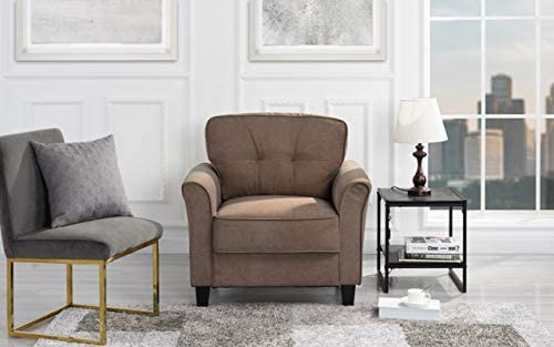 Classic Brush Microfiber Fabric Living Room Accent Chair Brown