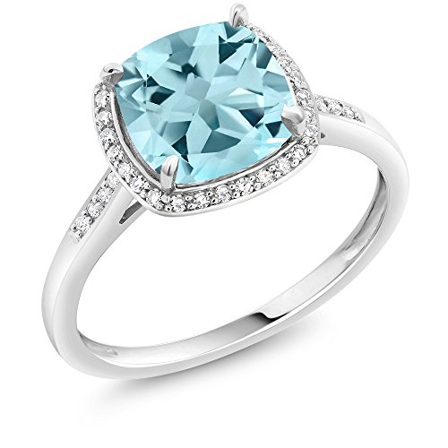 - Gem Stone King 10K White Gold Sky Blue Topaz and Diamond Accent Halo Engagement Ring 2.50 Ctw 8mm Cushion Cut (Size 6)
