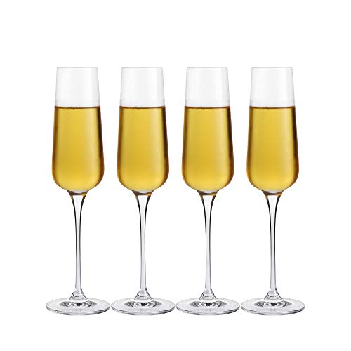 Crystal Champagne Flutes Glasses Set of 4 - Machine Made Glass 100% Lead Free 8 Ounce ()