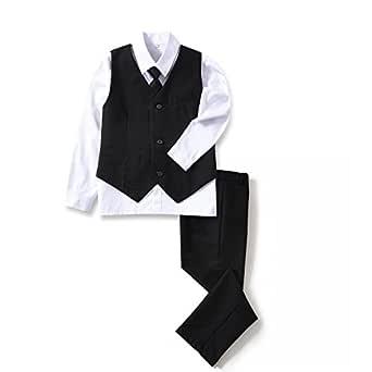 Yuanlu 4 Piece Boys' Formal Suit Set with Black Vest Pants White Dress Shirt and Tie Size 2T