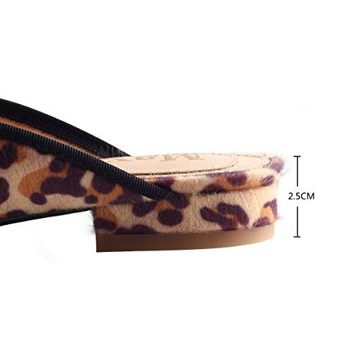 Mavirs Mocasines Para Las Mujeres, Para Mujer Mocasines De Terciopelo Antideslizante Sin Respaldo En Holgazanes Bordar Zapatillas De Leopardo De Mulas