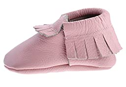 Sayoyo Baby Pink Tassels Soft Sole Leather Infant Toddler Prewalker Shoes (Newborn, Pink)