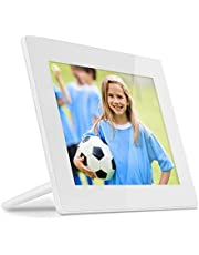 Aluratek 8 Inch WiFi Digital Photo Frame with Touchscreen IPS LCD Display and 8GB Built-in Memory, Photo/Music/Video, iPhone & Android App, Auto On/Off, 1024 x 768 Res, Wall Mountable (AWDMPF8BB)