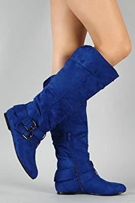 Vickie-20 Buckle Slouchy Suede Knee High Boot