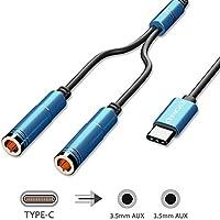 EVOMIND Splitter Audio USB Tipo C a Dual Jack Hembra 3.5mm [2x30CM ...
