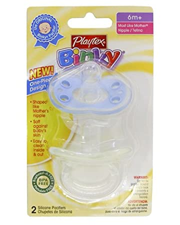 Playtex Binky One Piece Silicone Pacifier 6+ months - boy colors
