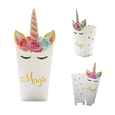 Astrau Gormet Popcorn Box Pack (24 Packs) - Unicorn Popcorn Treats Boxes Party Favors Set Perfect for Birthday Themed Parties, Movie Nights and Carnivals: Office Products