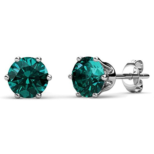 Cate & Chloe May Birthstone Stud Earrings, 18k White Gold Plated Earrings with 1ct Gemstone Swarovski Green Emerald Crystals, May Birthstone Jewelry for Women ()