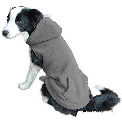 EXPAWLORER Fleece Dog Hoodies with Pocket, Cold Weather Spring Vest Sweatshirt with O-Ring, Grey L