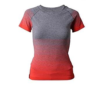 bde9e4c9ecb3f3 Hippolo Damen T-Shirt Sport Shirt Farbverlauf Shirts Sportbekleidung  Laufshirt Freizeit Top Oberteil Kurzarm Rundhals