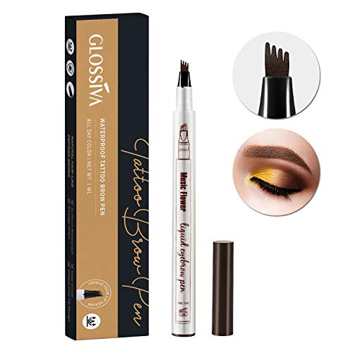 Tattoo Eyebrow Pen Waterproof Ink Gel Tint with Four Tips, Long Lasting Smudge-Proof Natural Hair-Like Defined Brows All Day (Chestnut) by AsaVea (Image #9)