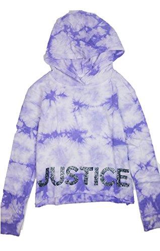 Justice Girls Hoodie Sweatshirt Raw Hem Glitter Logo Cloudy Tie-Dye (Purple, 12/14) Justice Sweatshirt